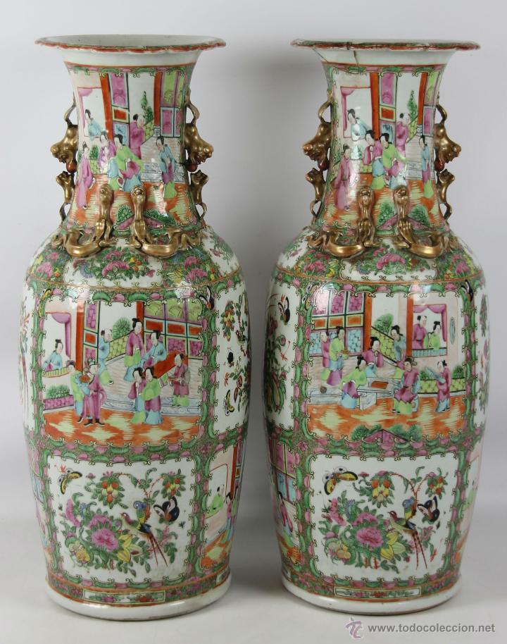 Antigua pareja de jarrones chinos porcelana c comprar for Marcas de vajillas de porcelana