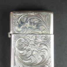 Antigüedades: CERILLERO. PLATA DE LEY, CINCELADA A MANO, FINALES S. XIX. Lote 50086889