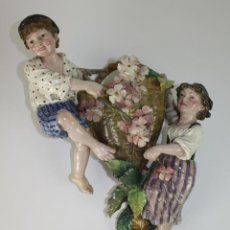 Antigüedades: JARDINERA CON FIGURAS - MAYÓLICA - ART NOUVEAU - ITALIA - PRINCIPIOS SIGLO XX. Lote 49336230