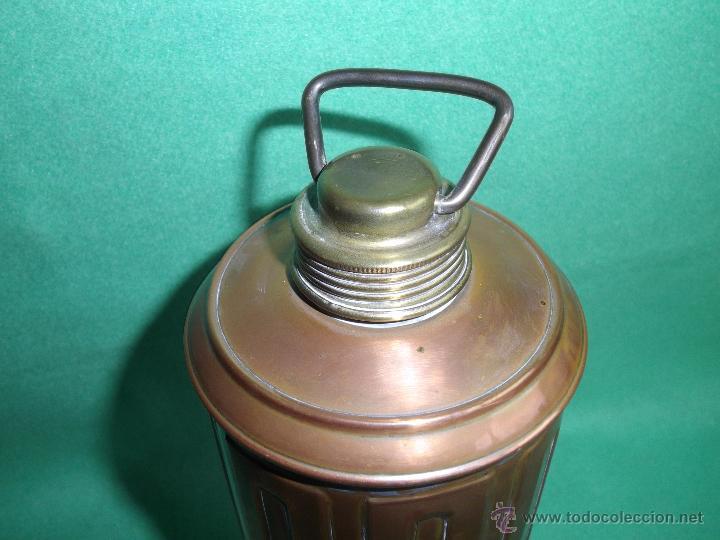 Antigüedades: Elegante botella agua caliente calientacamas termo metal calienta camas cobre y latón principios XX - Foto 2 - 54808255