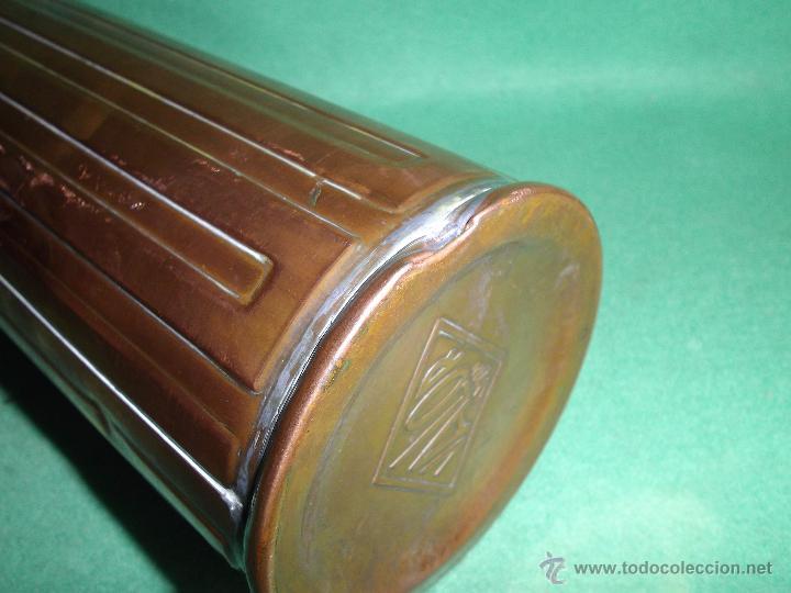 Antigüedades: Elegante botella agua caliente calientacamas termo metal calienta camas cobre y latón principios XX - Foto 6 - 54808255