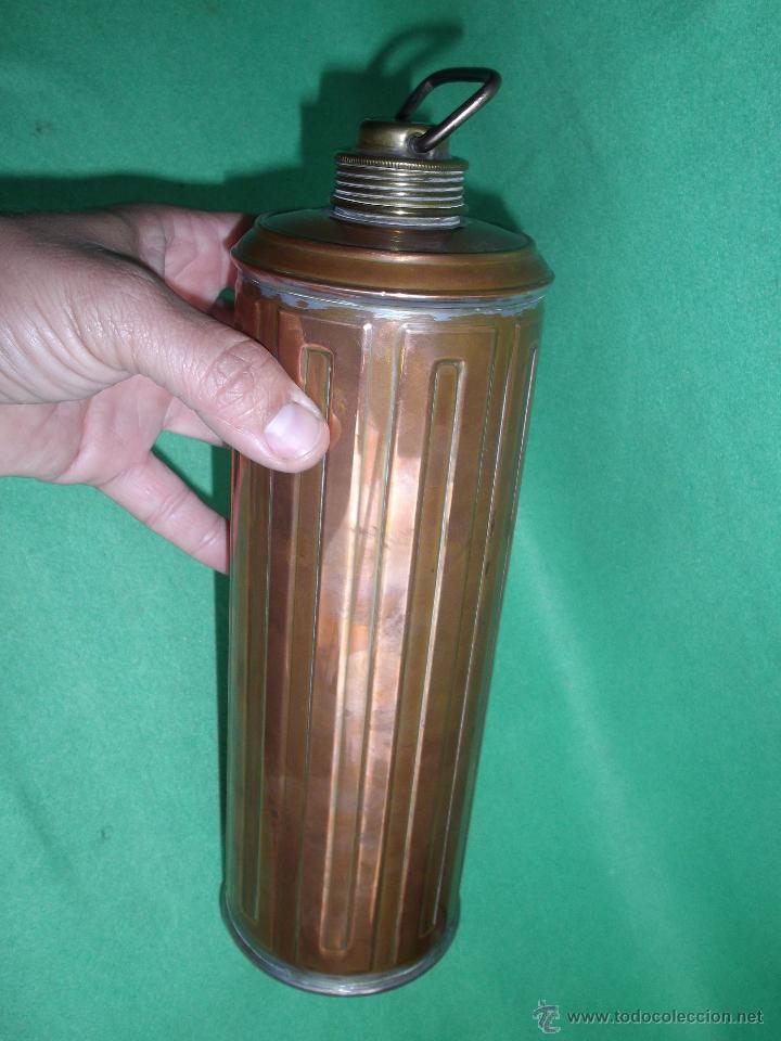 Antigüedades: Elegante botella agua caliente calientacamas termo metal calienta camas cobre y latón principios XX - Foto 7 - 54808255