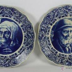 Antigüedades: PAREJA DE PLATOS EN PORCELANA POLICROMADA. BOCH FRERES. BELGICA. 1940-1950. Lote 165348586