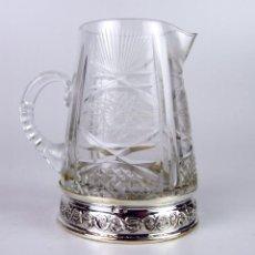 Antigüedades: JARRA. CRISTAL TALLADO. PLATA DE LEY PUNZONADA. ESPAÑA. CIRCA 1940.. Lote 48962464