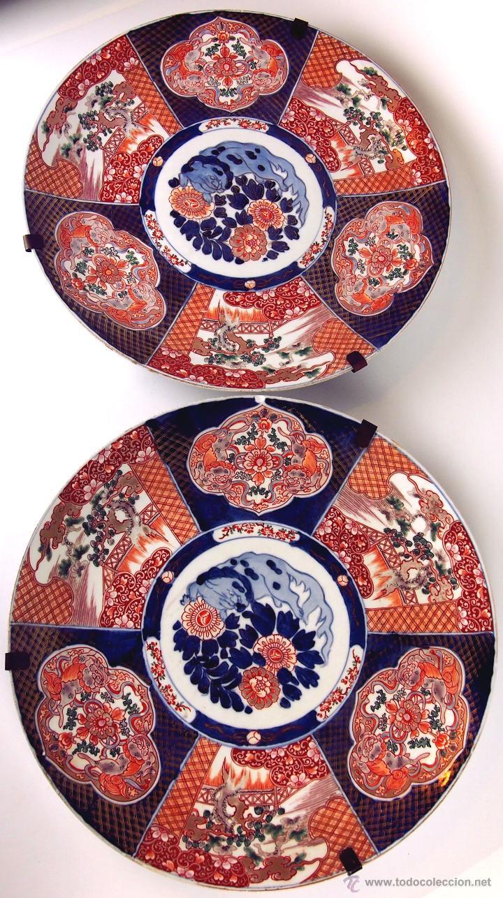 PAREJA DE PLATOS ORIENTALES. PORCELANA IMARI. SELLO DEL ARTISTA. SIGLO XVIII-XIX (Antigüedades - Porcelanas y Cerámicas - China)