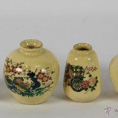 Antigüedades: COLECCIÓN DE 4 JARRONES EN MINIATURA. PORCELANA JAPONESA SATSUMA. POLICROMADA. SIGLO XX.. Lote 98935643