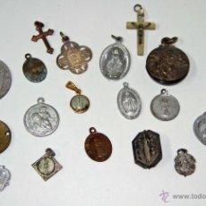 Antigüedades: MR026 LOTE DE 20 MEDALLAS RELIGIOSAS. DIFERENTES MATERIALES. ESPAÑA. SS. XIX-XX. Lote 48315721
