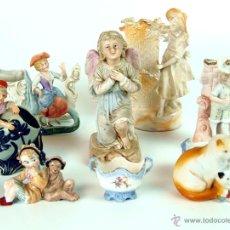 Antigüedades: LOTE DE 8 FIGURAS BISCUIT. BISCUIT POLICROMADO A MANO.ESPAÑA. XIX.. Lote 48551111