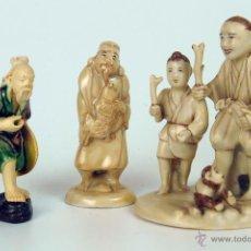 Antigüedades: LOTE DE 3 FIGURAS. PORCELANA JAPONESA ESMALTADA. JAPÓN. CIRCA 1930.. Lote 48611371
