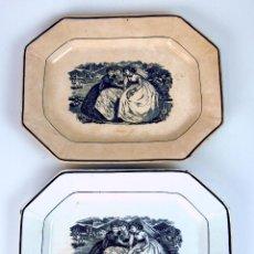 Antigüedades: PAREJA DE BANDEJAS. LOZA DE CARTAGENA. ESPAÑA. XIX.. Lote 48612153