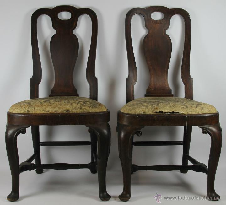 pareja de sillas estilo reina ana. madera de no - Comprar Sillas ...