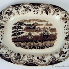Antigüedades: GRAN BANDEJA. LOZA ESMALTADA. INGLATERRA (?). XIX.. Lote 48643266