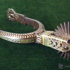 Antigüedades: ESPUELA CHILENA. DAMASQUINADO DE PLATA SOBRE HIERRO. CIRCA 1910. Lote 48657381
