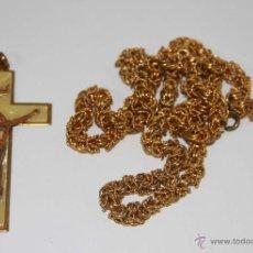 Antigüedades: RO015 CRUZ Y CADENA. METAL DORADO Y SÍMIL DE NÁCAR. ESPAÑA. AÑOS 50. Lote 47953120