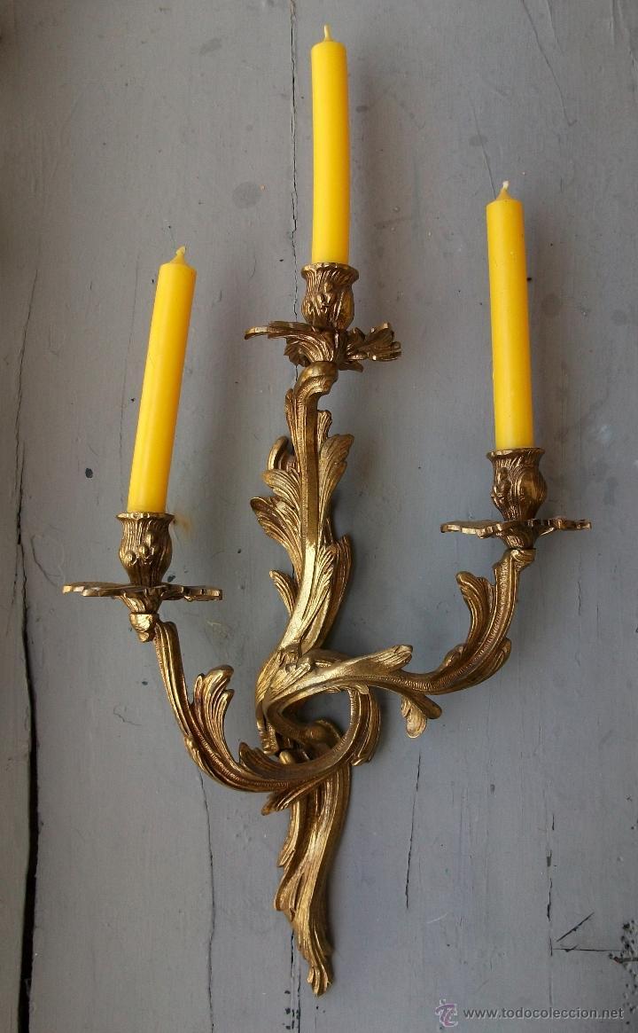 Antigüedades: Apliques estilo Luis XV, estilo rococo,barroco. - Foto 2 - 54824673