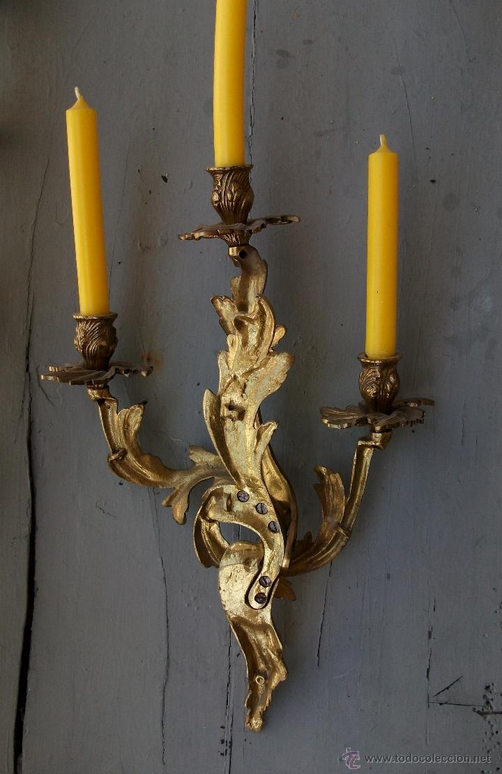 Antigüedades: Apliques estilo Luis XV, estilo rococo,barroco. - Foto 3 - 54824673