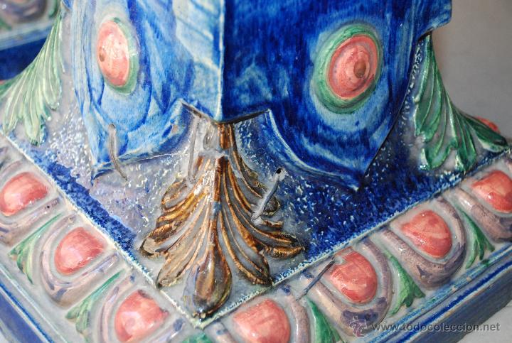 Antigüedades: ESPECTACULAR PAREJA DE MACETEROS ART-DECÓ DE CERÁMICA - Foto 11 - 54831605