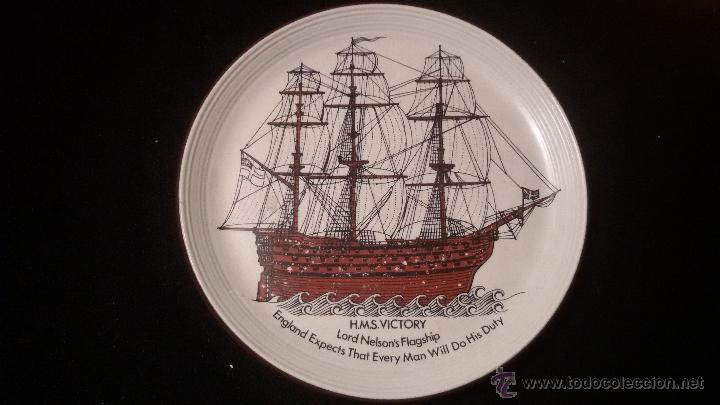 ANTIGUO PLATO DE 27 CM DIAMETRO H.M.S. VICTORY FIRMADO PURBECK POTTERY 198 EUROS (Antigüedades - Porcelanas y Cerámicas - Inglesa, Bristol y Otros)