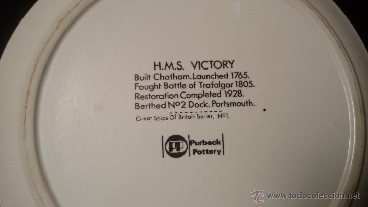 Antigüedades: ANTIGUO PLATO DE 27 cm DIAMETRO H.M.S. VICTORY FIRMADO PURBECK POTTERY 198 euros - Foto 4 - 54841948