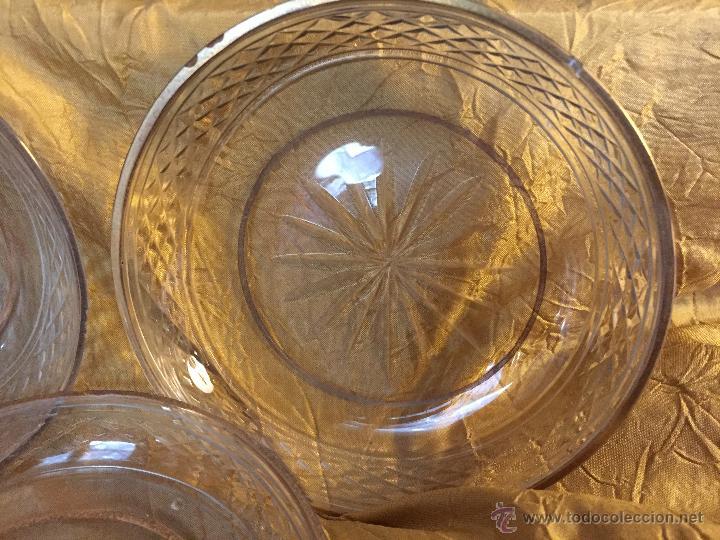Antigüedades: 6 platitos de pan o aperitivo, cristal tallado y filo de oro - Foto 2 - 54842109