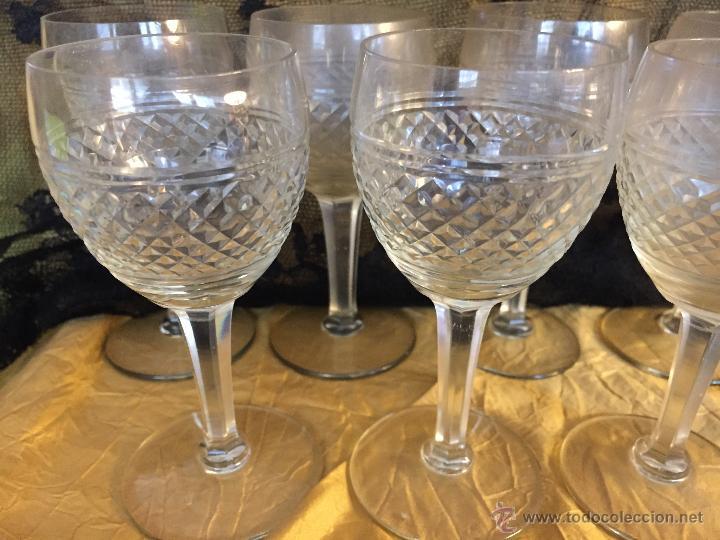 Antigüedades: Conjunto de 9 copas de licor de cristal tallado - Foto 2 - 54842401