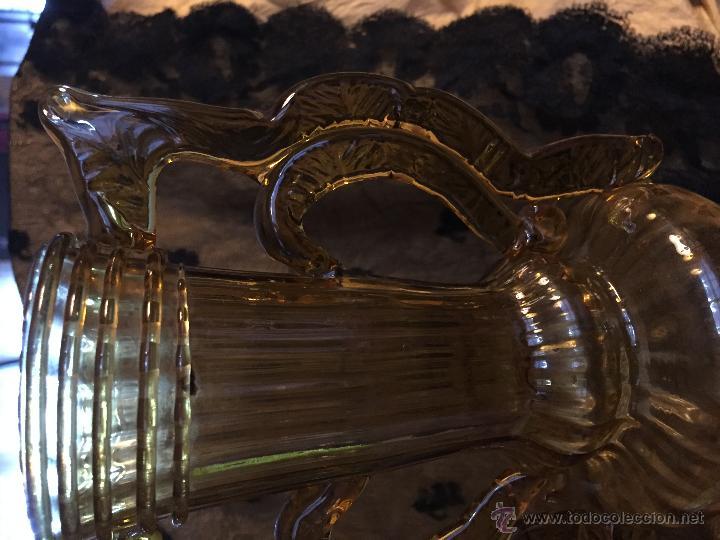 Antigüedades: Jarrón de vidrio soplado color ambar. - Foto 4 - 54843350