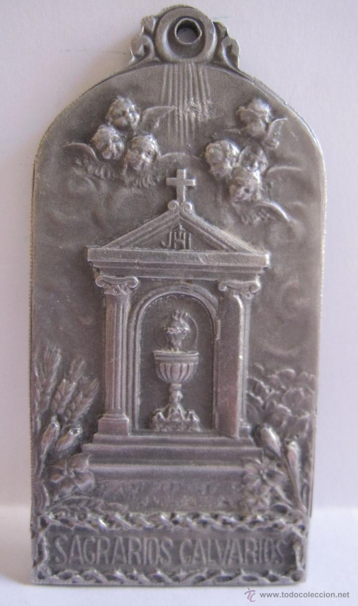 Antigüedades: EDUARD AUSIO. BARCELONA, C. 1900 Medalla obra de las tres marias y sagrarios calvarios de 6 x 3 cm. - Foto 3 - 54847209