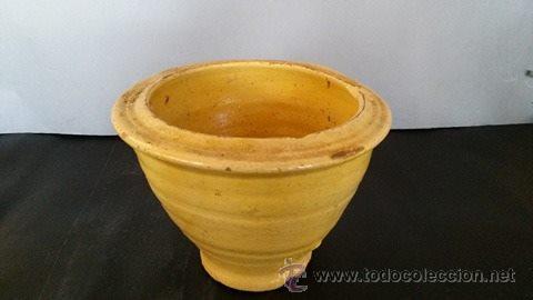 Antigüedades: Mortero de barro vidriado de amarillo - Foto 2 - 54849560