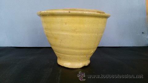 Antigüedades: Mortero de barro vidriado de amarillo - Foto 3 - 54849560