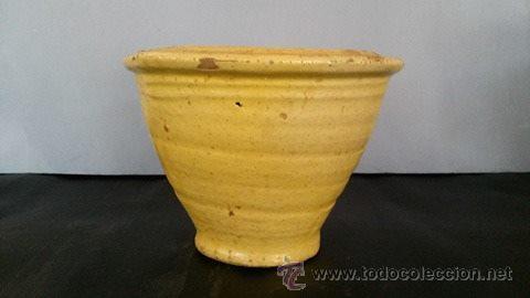 Antigüedades: Mortero de barro vidriado de amarillo - Foto 4 - 54849560