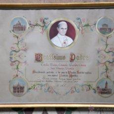 Antigüedades: CUADRO DE BEATISMO PADRE, CON MARCO DE MADERA Y CRISTAL. 1968.. Lote 54853741