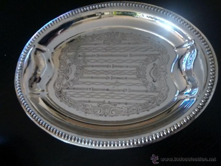 BANDEJA ALPACA (Antigüedades - Platería - Bañado en Plata Antiguo)
