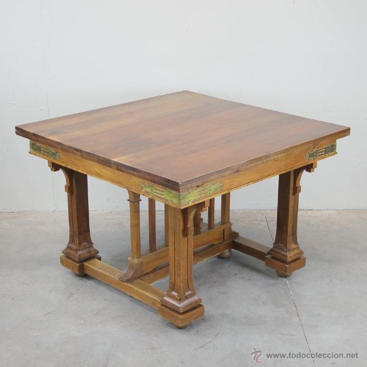 Antigüedades: Mesa de comer inglesa Art Nouveau. - Foto 2 - 54872349