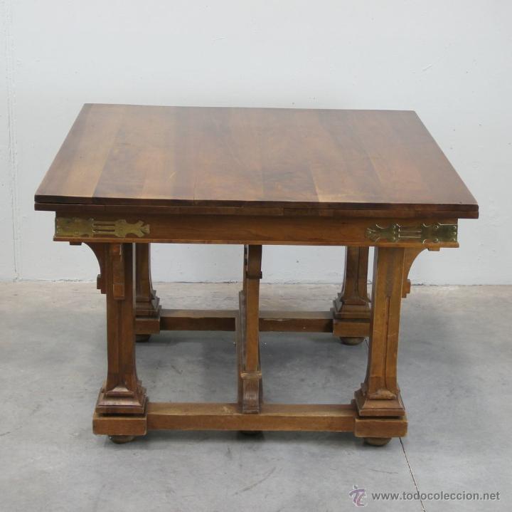 Antigüedades: Mesa de comer inglesa Art Nouveau. - Foto 3 - 54872349