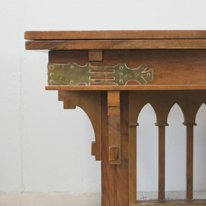 Antigüedades: Mesa de comer inglesa Art Nouveau. - Foto 4 - 54872349