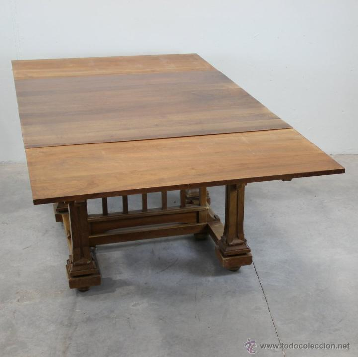 Antigüedades: Mesa de comer inglesa Art Nouveau. - Foto 5 - 54872349