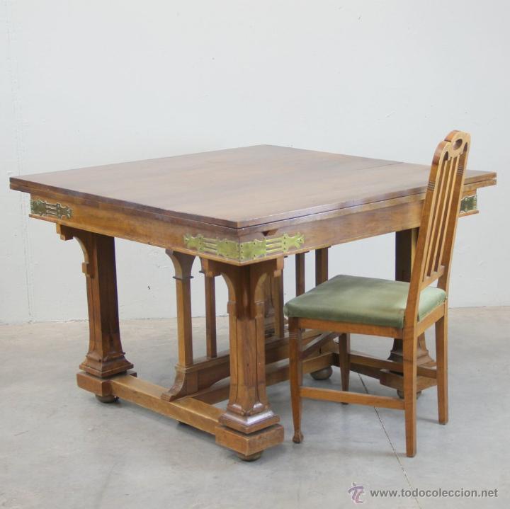 Antigüedades: Mesa de comer inglesa Art Nouveau. - Foto 6 - 54872349