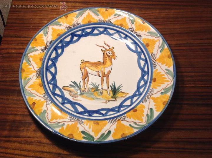 PLATO DE MANISES CABRA (Antigüedades - Porcelanas y Cerámicas - Manises)