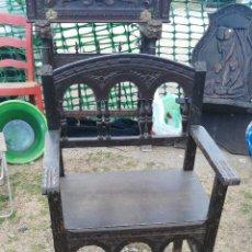 Antigüedades: ANTIGUA SILLA DE MADERA TRABAJADA A MANO.. Lote 54886533