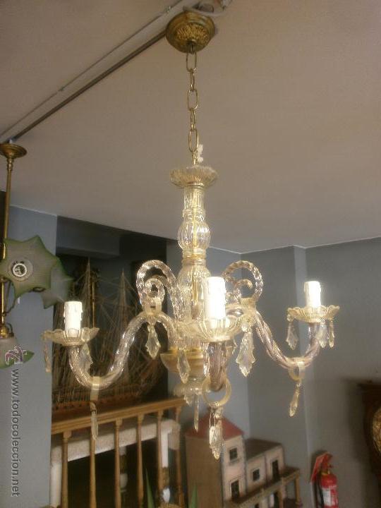 Antigua lampara de cristal 4 luces completa comprar l mparas antiguas en todocoleccion - Lamparas de cristal antiguas ...