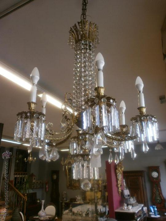 Bonita lampara antigua bronce y cristal 6 l comprar l mparas antiguas en todocoleccion - Lamparas de cristal antiguas ...