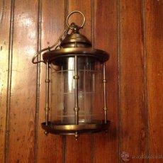 Antigüedades: FAROL DE TECHO LAMPARA CRISTAL CURVO. Lote 54895617
