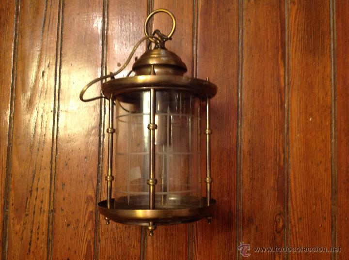 Antigüedades: FAROL DE TECHO LAMPARA CRISTAL CURVO - Foto 2 - 54895617