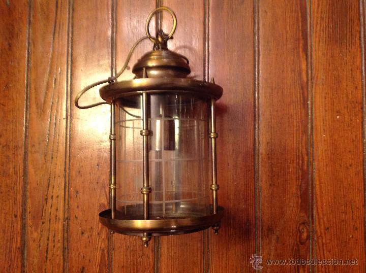 Antigüedades: FAROL DE TECHO LAMPARA CRISTAL CURVO - Foto 3 - 54895617