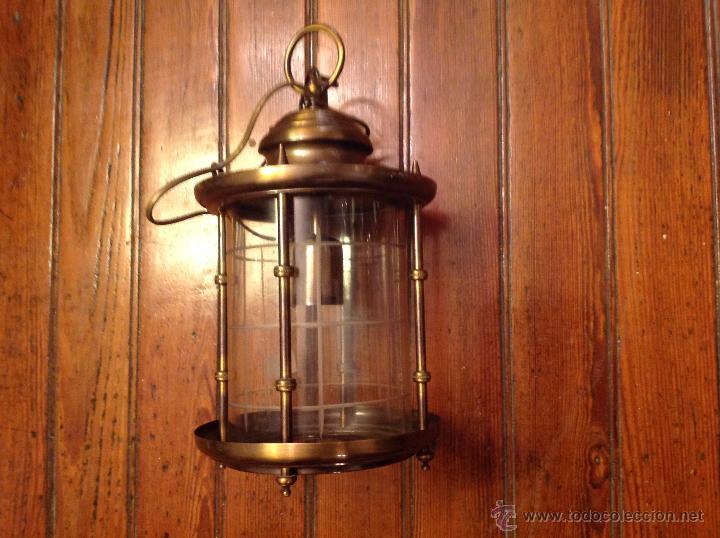 Antigüedades: FAROL DE TECHO LAMPARA CRISTAL CURVO - Foto 4 - 54895617