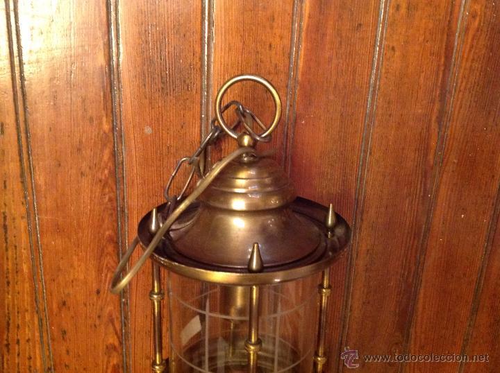 Antigüedades: FAROL DE TECHO LAMPARA CRISTAL CURVO - Foto 7 - 54895617