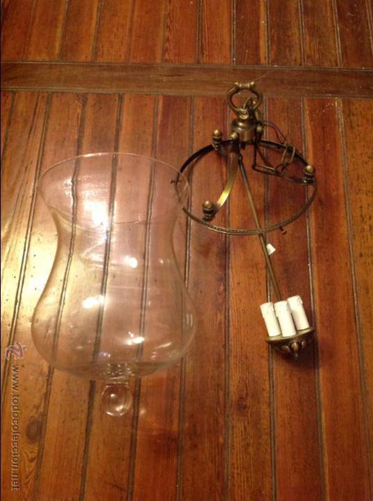 FAROL DE TECHO LAMPARA CRISTAL CURVO (Antigüedades - Iluminación - Faroles Antiguos)