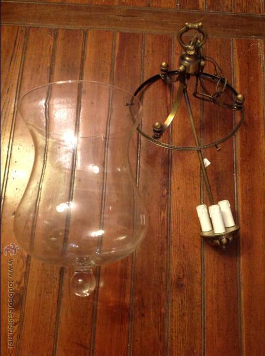 Antigüedades: FAROL DE TECHO LAMPARA CRISTAL CURVO - Foto 2 - 54895657