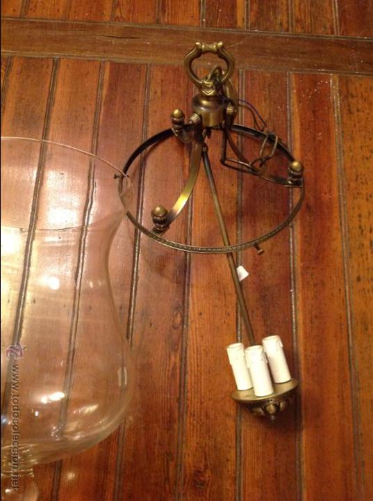 Antigüedades: FAROL DE TECHO LAMPARA CRISTAL CURVO - Foto 3 - 54895657