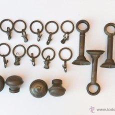Antigüedades: LOTE ANILLAS, COLGADORES Y POMOS CORTINA BRONCEPRINCIPIOS DEL S XX. Lote 54907200